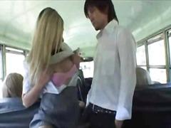 في الحافلة, رسمى, بنات مدارس, بنات