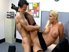 big boobs, blonde, blowjob, hardcore, office, pornstar, secretary, stocking, tits, uniform