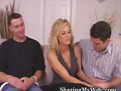 blonde, cock, cuckold, facial, homemade, wife, swingers, doggy, kissing, foreplay
