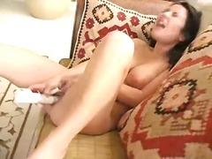 babe, dildo, masturbatie, orgasme, vagina, wrijven, geschoren, nat, speeltje
