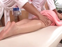 japonês, massagem, besuntada, mamas