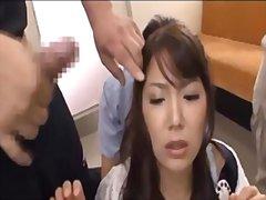asiático, bukkake, esperma no rosto, gangbang, japonês, oriental, público
