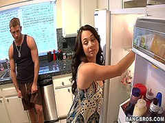 horny, kitchen, mom, fucking, friend, son